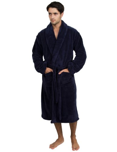- TowelSelections Men's Super Soft Plush Bathrobe Fleece Spa Robe Small/Medium Navy