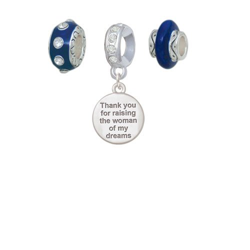 Silvertone Thank You for Raising the Woman of my Dreams Navy Charm Beads Set of 3