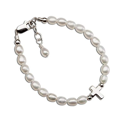 Children's Sterling Silver Cultured Pearl Bracelet with Cross for First Communion, Baptism or -
