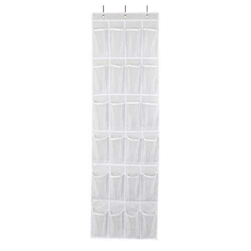 OrthoStep Premium Over The Door Shoe Organizer - Heavy Duty Protection for Designer Shoes & Pointy Heels w/Air-Flow Mesh for Stinky Sport & Tennis Shoes - 24 Clear Extra Large Pockets Rack - White (Door Pockets Shoe)