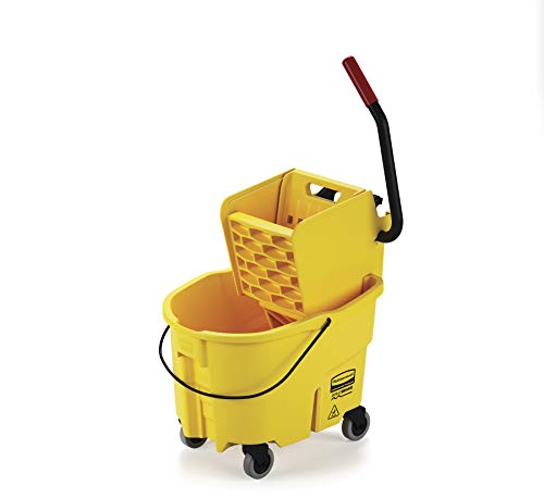 Rubbermaid Commercial WaveBrake Mopping System Bucket and Side-Press Wringer Combo, 26-quart, Yellow - Compact Mop Wet Web Foot