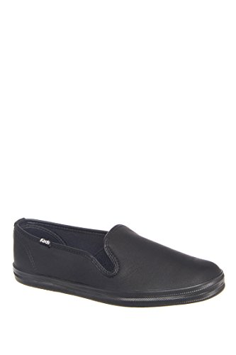 Keds Women's Champion Oxford Leather Slip On Fashion Sneaker Black 9 M US by Keds