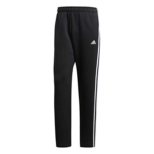 adidas Men's Essentials 3 Stripe Regular Fit Fleece Pants, Black/White, Large,adidas