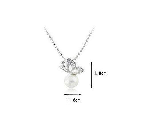 Parure Collier et Boucles d'oreille Papillon - Perle/Cristal - Blanc
