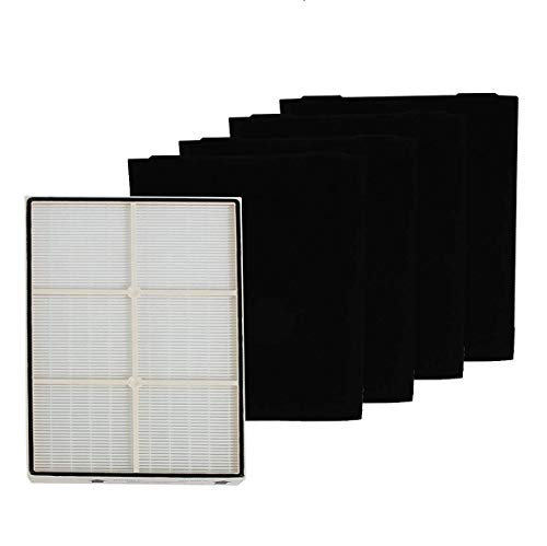 LifeSupplyUSA Complete Set for Whirlpool 1183054K (1183054) HEPA Filter Plastic Frame and 4 Carbon Filters 8171434K 8171434 to Fit Whispure Air Purifier Models AP350 AP450 AP510 AP45030HO ()