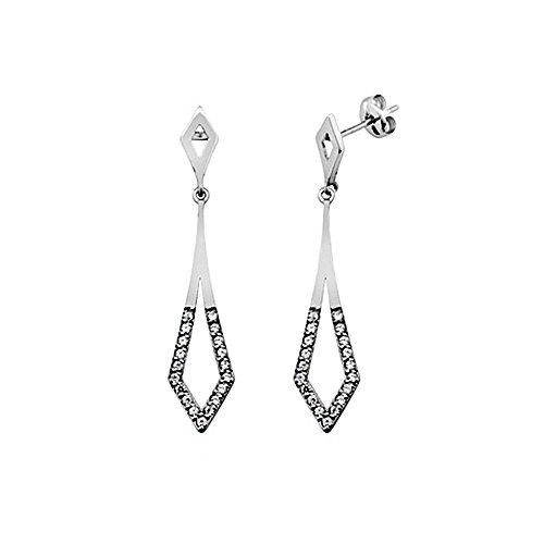 Boucled'oreille 18k blanc zircons or diamant long mariage [AA5358]