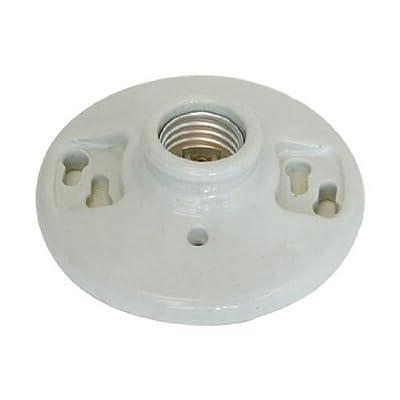 Ez-Flo 59409 Ceramic Ceiling Lamp Holder White