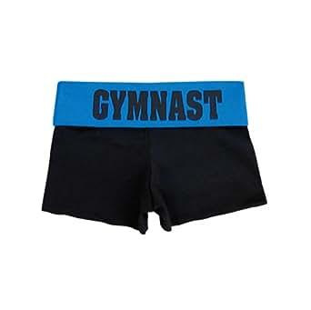 "Black/Blue ""Gymnast"" Foldover Yoga Shorts"