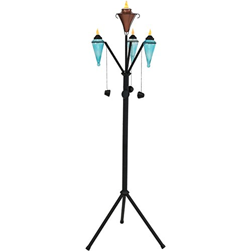 Sunnydaze Multi-Arm Outdoor Torch Stand with Patio and Lawn Citronella Torches Included, 71-Inch Tall by Sunnydaze Decor