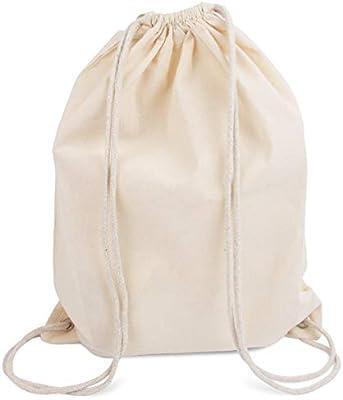Modera mochila de deporte, 10 bolsas, bolsa de tela de algodón con cordón, color natural, 36 x 46 cm: Amazon.es: Deportes y aire libre