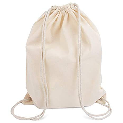 Modera mochila de deporte, 10 bolsas, bolsa de tela de algodón con cordón, color natural, 36 x 46 cm