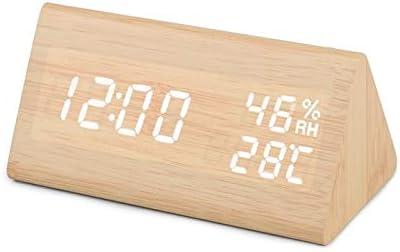 MQH Despertador LED de Alarma del Reloj de Madera Tabla de Control de Voz Reloj Digital Display Temperatura Humedad de Madera del Escritorio Relojes USB/AAA Reloj de Escritorio (Color : 05)