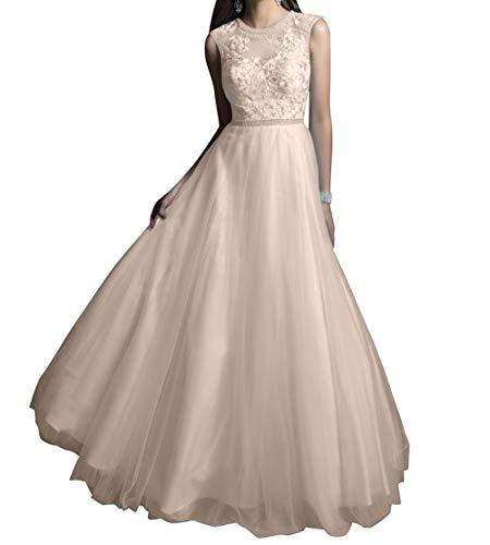Abendkleider Braut A Partykleider Lang Spitze La mia Ballkleider Champagner Linie Festlichkleider Festlichkleider Wunderschoen Prinzess xFPqnX5