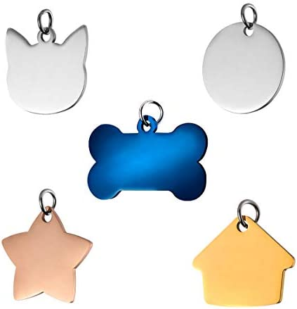 POPETPOP 5PCS Pet ID Tags – Stainless Steel Dog Cat Collar Accessories Dogs Tag and Cats Tag in Bone, Round, Star, House and Cat Face Shapes