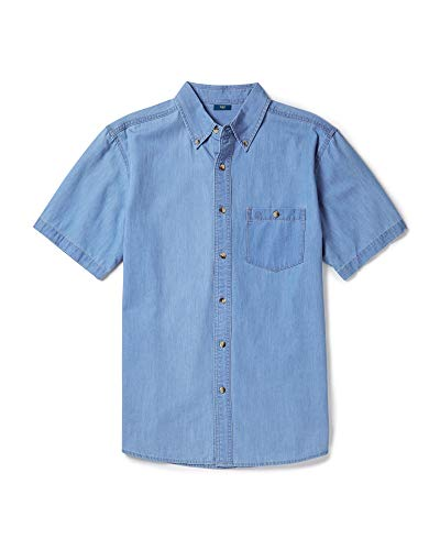 Short Shirt Denim Sleeves Stonewash - Cotton Traders Mens Womens Everyday Casual Wear Short Sleeve Denim Shirt Colour Light Stonewash Size XX-Large