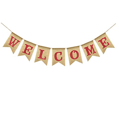 Uniwish Welcome Banner Party Decorations Vintage Rustic Burlap Bunting Sign Home Fireplace Décor, Glitter Red Letters]()