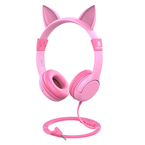 [2019 Upgrade]iClever Boostcare Kids Headphones Girls - Cat Ear Hello Kitty Wired Headphones for Kids on Ear, Adjustable 85/94dB Volume Control - Toddler Headphones with MIC for Kindle Tablet, Pink -
