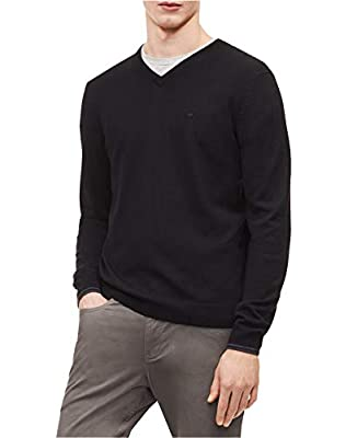 Calvin Klein Men's Solid V-Neck Merino Pull-Over Sweater