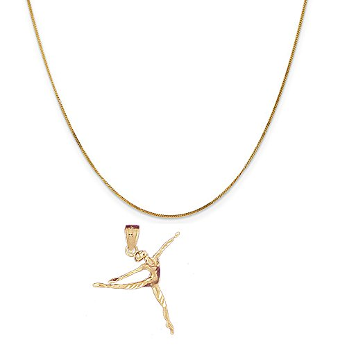 14k Yellow Gold Ballerina (14k Yellow Gold Ballerina Pendant on a 14K Yellow Gold Curb Chain Necklace, 20