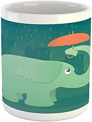 Amazon com: Ambesonne Rain Mug, Illustration of an Elephant