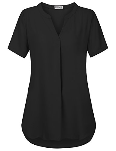EMVANV Tunic Shirt,Women's Basic V Neck Pleats Chiffon Blouse Tops,Black M ()