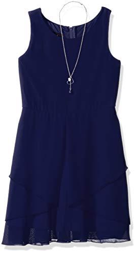 Amy Byer Girls' Big Simply Elegant Sleeveless Chiffon Dress, sea Navy, -