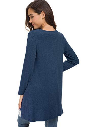 T Manches A shirt Bleu ligne Swing Longues Tunique Marine Afibi Blouse Dentelle Femmes Top Loose 0UxqyFH