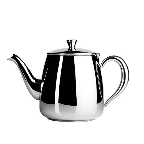 Cafe Ole PT-018 Premium - Tetera de acero inoxidable 18/10, 350 ml, antigoteo, asas huecas y tapa abatible, color plateado