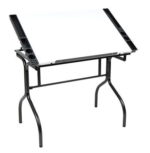 "Studio Designs Folding Modern Top Adjustable Drafting Table Craft Table Drawing Desk Hobby Table Writing Desk Studio Desk, 35.25"" W x 23.75"" D, Black / White"