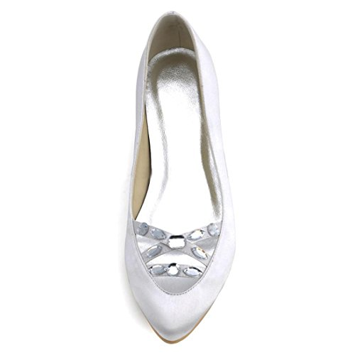 Ladies Satin Comfortable Handmade Shoes Party Minitoo Heel White Wedding 5cm Toe Almond acgWRWndq