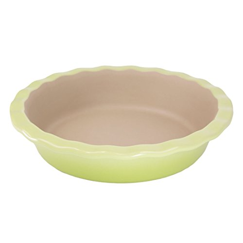 """American Bakeware 9"""" Fancy Pie Pan (Green Apple) - Non Stick Ceramic Stoneware - Heat Resistant to 400 °F - No Metal, Lead, or other Harmful Materials - Safe for ()"""