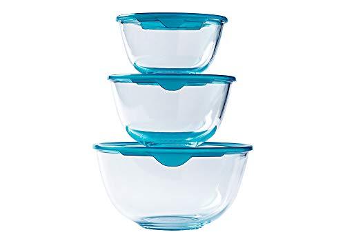 Pyrex® – Prep & Store – Set of 3 Heavy Duty Glass Bowls with Lid (0.5L – 1L – 2L) – BPA Free