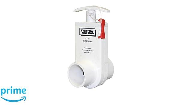 White Valterra 2202X PVC Unibody Gate Valve 2 Slip x Spigot w//Gate Keeper