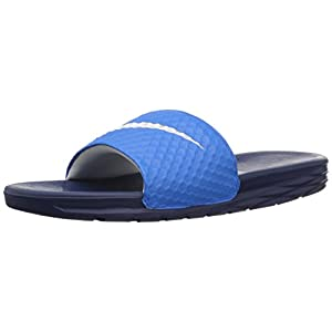 NIKE Men's Benassi Solarsoft Slide Sandal, Photo Blue/White/Binary Blue, 11 D(M) US