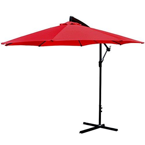 PayLessHere Patio Umbrella Offset 10' Hanging Umbrella Outdoor Market Umbrella Red