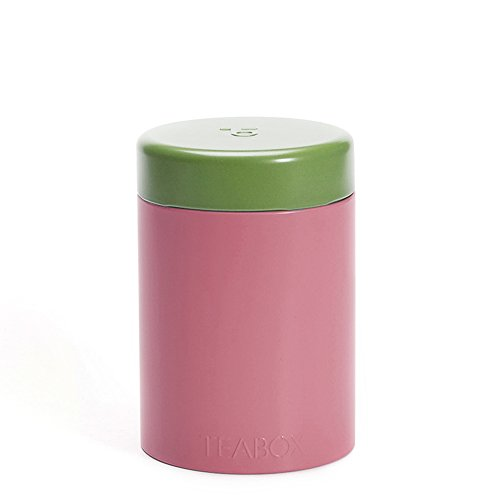 Teabox Round Tea Tin | Holds 100g of Tea | Twist Lock Top | Tea Container/Storage | Pink
