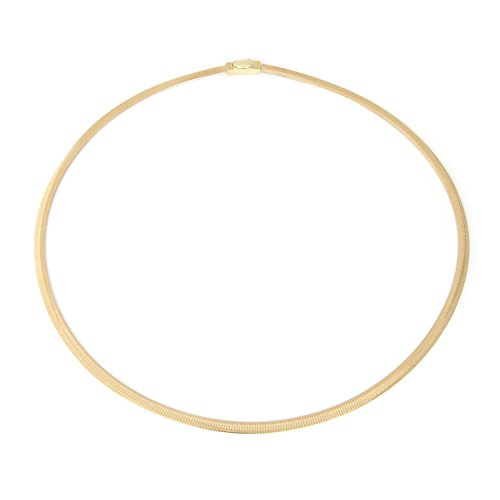 "14k White & Yellow Gold 4mm Reversible Omega Chain Necklace, 16"" 17"" 18"" 20"""