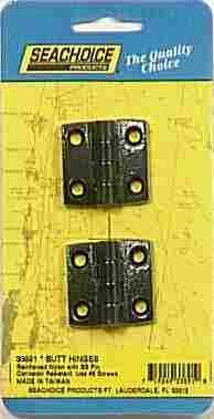 BUTT HINGES 1-1/2 x 1-3/8 NY 2 per Card SeaChoice 33891 50-33891