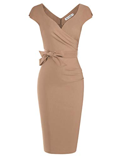 (MUXXN Ladies Retro 1950s V Neck Belt Waist Formal Wedding Tea Length Dress (Camel L) )