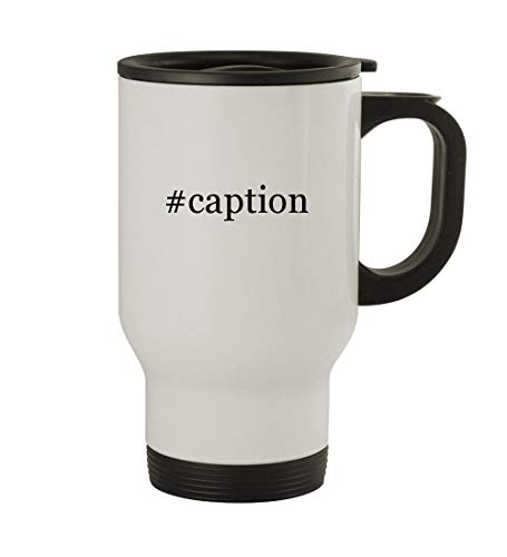 #caption - 14oz Sturdy Hashtag Stainless Steel Travel Mug, White