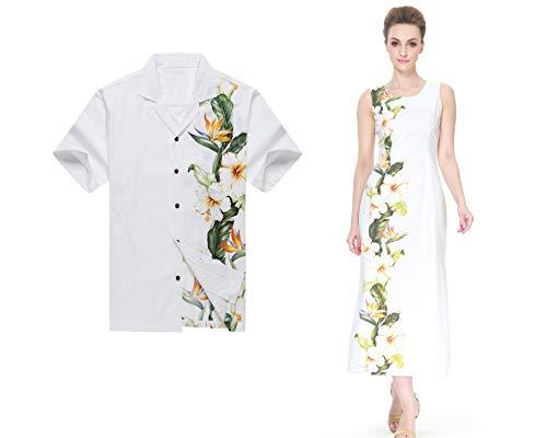 Made in Hawaii Couple Matching Luau Aloha Shirt Maxi Tank Dress Side Floral White