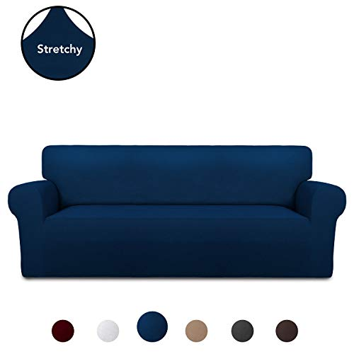 (PureFit Super Stretch Chair Sofa Slipcover - Spandex Anti-Slip Soft Couch Sofa Cover, Washable Furniture Protector with Anti-Skid Foam and Elastic Bottom for Kids, Pets (Sofa, Navy))