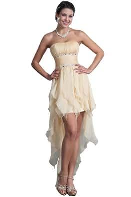 Carlyna eDressit Sin Tirante Asim¨¦trico Tres Colores Vestido de Fiesta Corta (35120314) Talla 42(Pecho:91.4 Cintura:71.12 Cadera:101.6 cm)