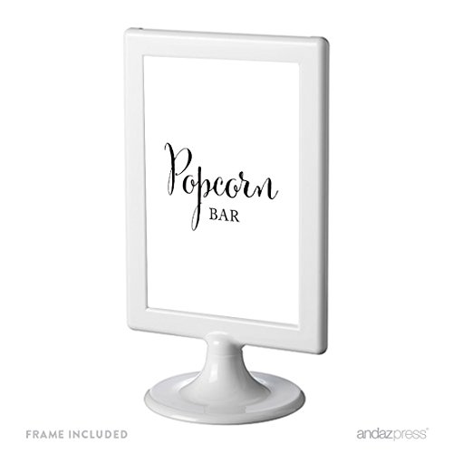 Andaz Press Framed Wedding Party Signs, Black and White Modern Print, 4x6-inch, Popcorn Bar Reception Dessert Table Sign, 1-Pack, Includes Frame ()