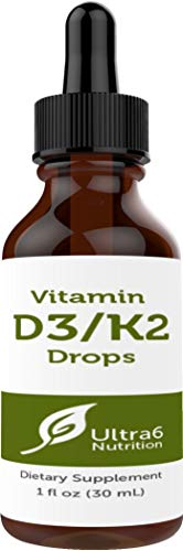 (Vitamin D3 Drops with Vitamin K2 in Liquid for Best Absorption - Vitamin D Drops for Adults, Children, Kids and Infants. Liquid Vitamin D with K2 and Gluten Free. Top Seller in Liquid Vitamins)
