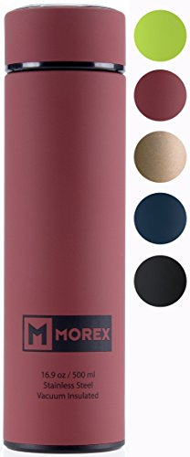 Morex Coffee Thermos, Stainless Steel Water Bottle, Thermos Bottle, Vacuum Insulated Water Bottle, Thermos Water Bottle, FDA Approved with Tea Infuser Capacity: 500ml/16.9 oz, Color: Terracotta / Red