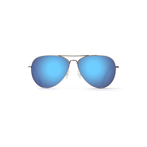 Maui Jim Mavericks B264-17 | Polarized Silver Aviator Frame Sunglasses, Blue Lense, 42