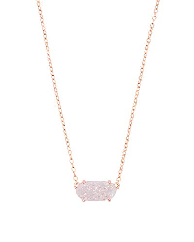 Kendra Scott Ever Pendant Necklace in Iridescent Drusy, 14k Rose Gold-Plated