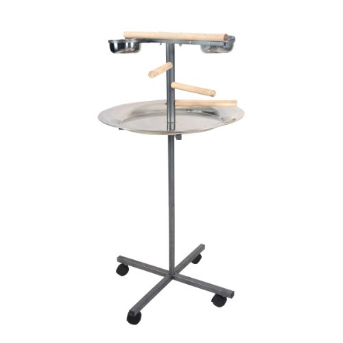 Round Play Stand with Wooden Steps Color: Black