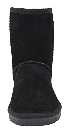 Paires De Rêves Femmes En Daim Cuir Fourrure De Mouton Fourrure Doublure Bottes Dhiver Noir-classique